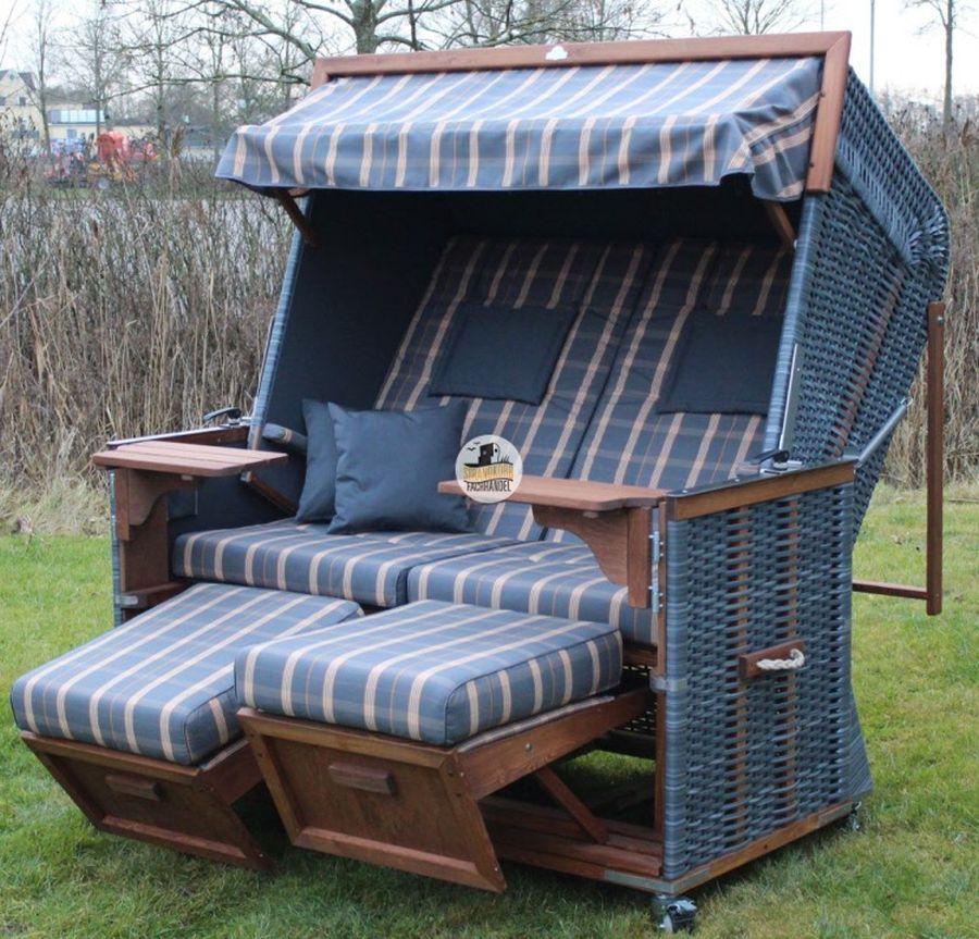 eiderstedter strandkorb kunststoff breitgeflecht weiss dessin blau weiss wie abgebildet p1042. Black Bedroom Furniture Sets. Home Design Ideas
