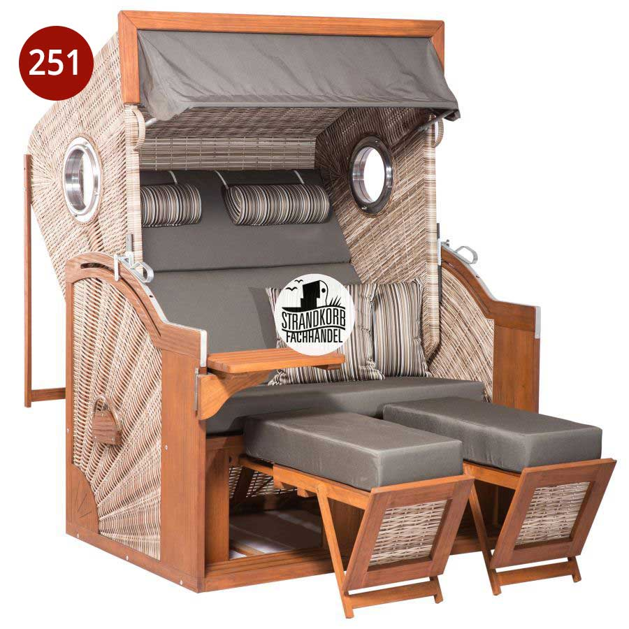 Strandkorb PURE Seaside XL Bullaugen Geflecht PE Seashell Dessin 448