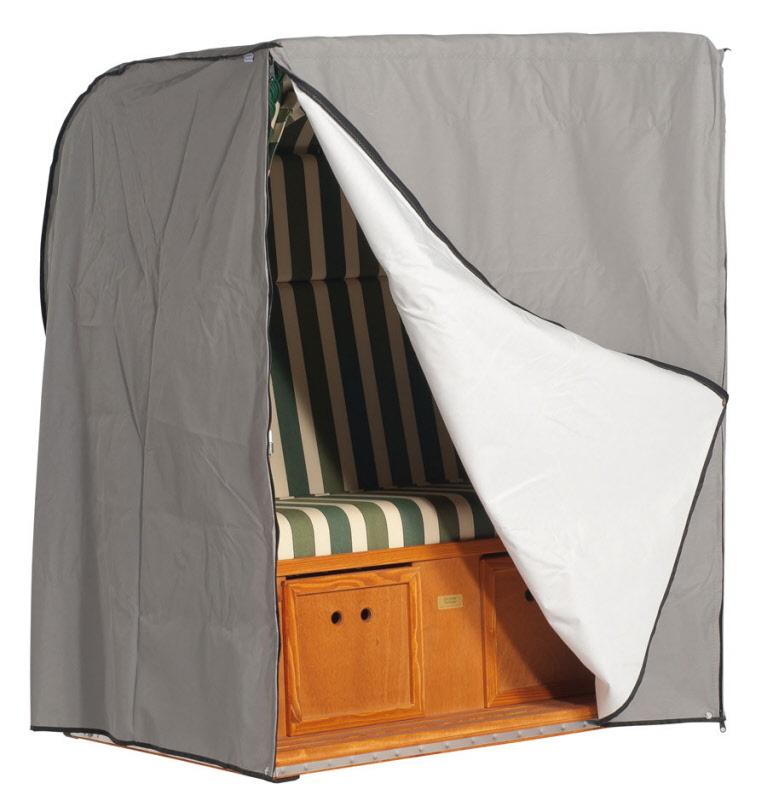 strandkorb classic 2 sitzer ca 130 cm breit sonnenpartner schutzh lle grau robuste qualit t. Black Bedroom Furniture Sets. Home Design Ideas